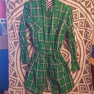 Plaid shirt dress green, dark blue & white w/ belt
